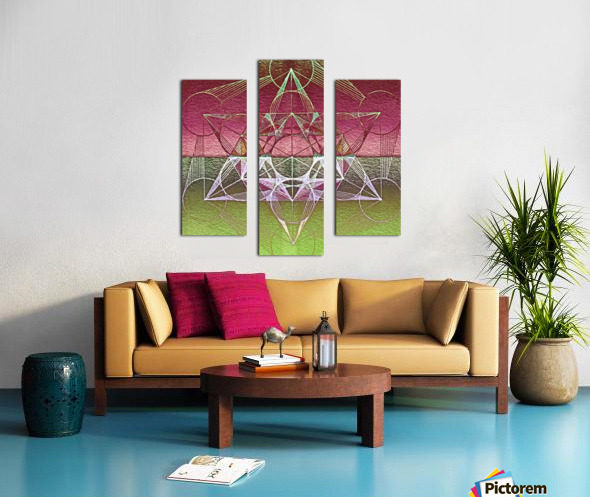 Cube of Metatron Red Green Canvas print