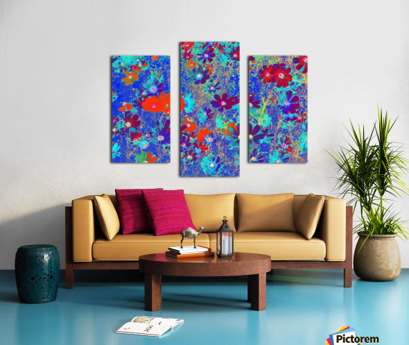 Cosmos Flowers Blue Red Canvas print