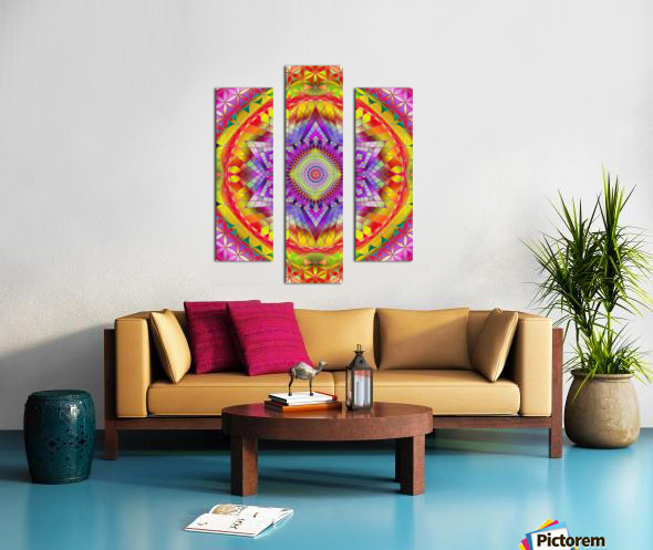 Vintage Mandala Orange Snowflake Canvas print