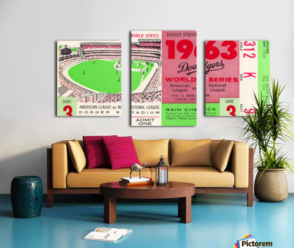 1963 world series ticket stub art la dodgers home decor Canvas print