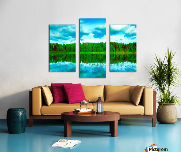 Forest beyond the lake Canvas print
