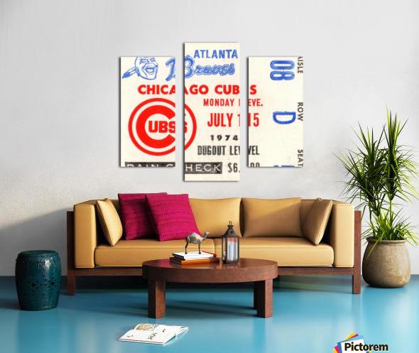 1974_Major League Baseball_Chicago Cubs vs. Atlanta Braves Ticket Stub Art Canvas print