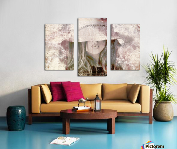 Lovely Girl with Hat on Vintage paper Canvas print