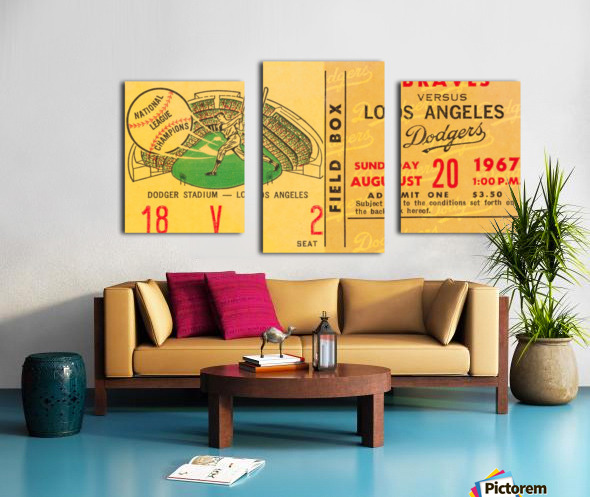 1967 la dodgers atlanta braves baseball sports ticket art  Canvas print