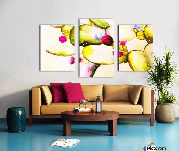 water color cactus flower Canvas print