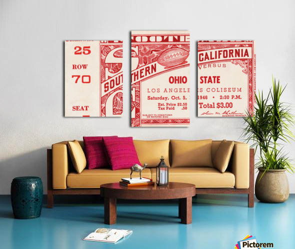 1946 usc ohio state buckeyes football ticket wall art sports gift Canvas print