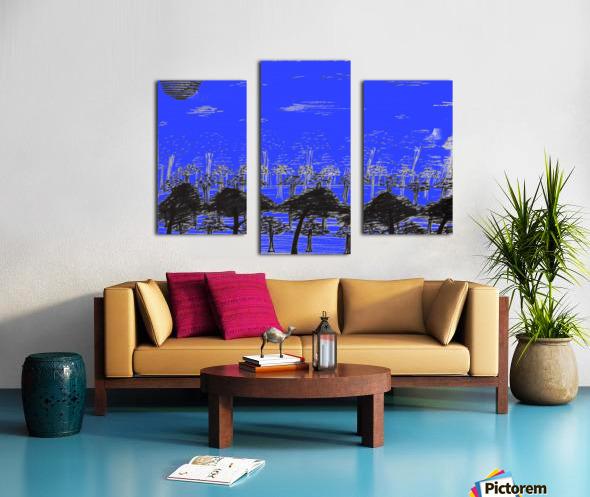 Trees vs sun blue Canvas print