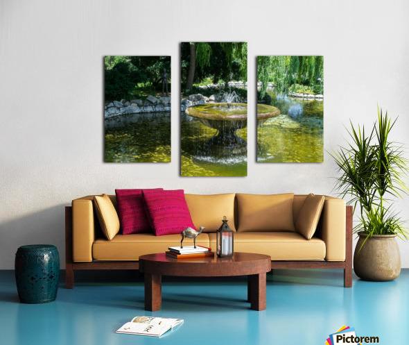 Refreshing Summer - the Little Fisherman Fountain Cheerfully Splashing in the Sunshine Canvas print