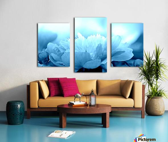 Heavenly Peony Aqua Blue Canvas print