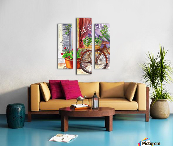 French Cafe And Bicycle With Basket Canvas print