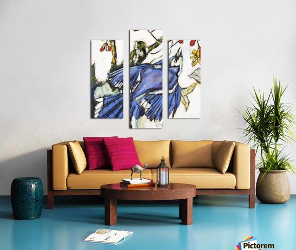 Louisiana Blue Jay Study on Wood Canvas print