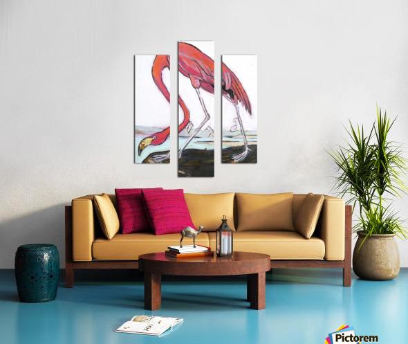 Louisiana Flamingo Study on Wood Canvas print