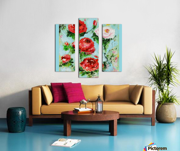 Roses on Aqua Canvas print
