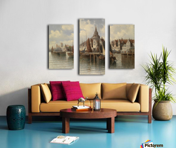 Blick auf eine Hafenstadt Canvas print