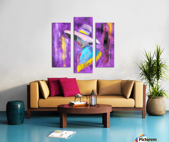 Woman in violet Canvas print