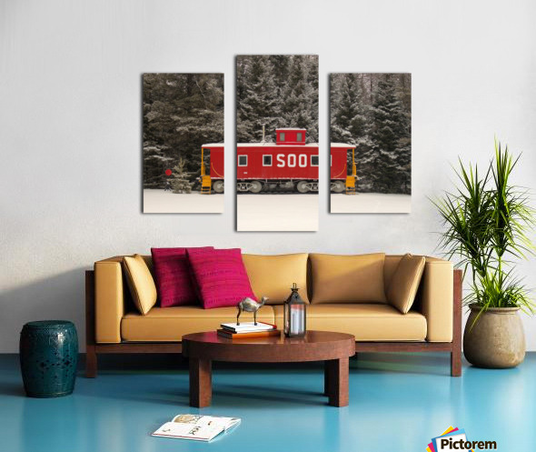 Soo Caboose in Fresh Snow Canvas print