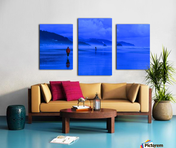Woman in Red on Blue Beach Canvas print