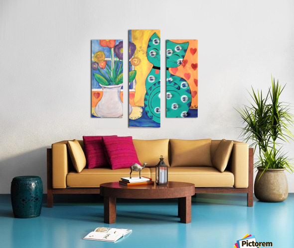 Teal Kitty Canvas print