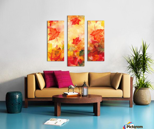 Welcome Fall Red Green Yellow Birch Oak Maple Watercolor Leaves Canvas print