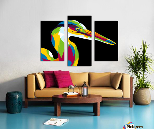 Great Heron in Pop Art Style Canvas print
