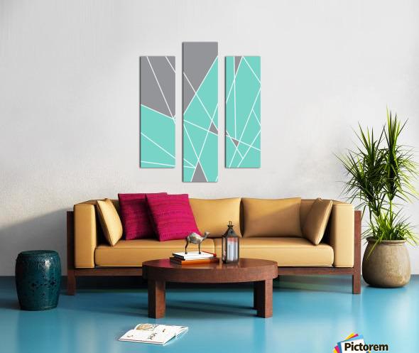 Gray Teal Triangles Geometric Art GAT101-2 Canvas print