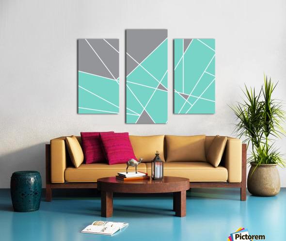 Gray Teal Triangles Geometric Art GAT101-3 Canvas print