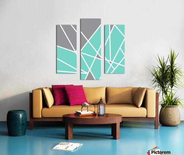 Gray Teal Triangles Geometric Art GAT101 square Canvas print