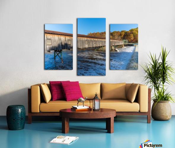 Harpersfield covered bridge and dam Ashtabula County autumn 2020 Canvas print