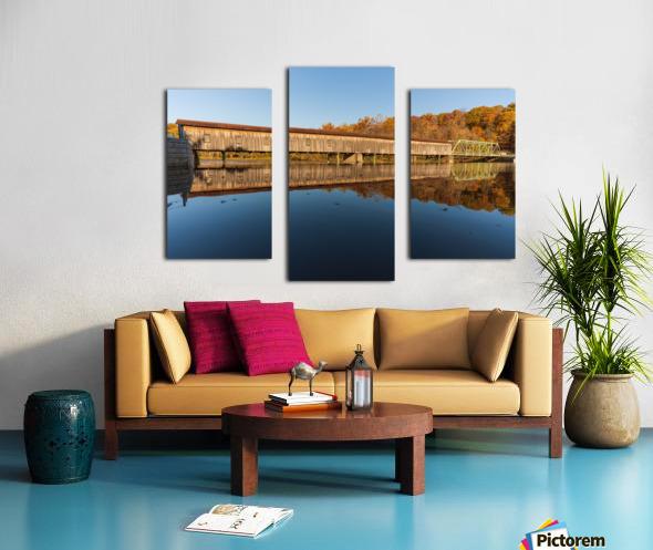 Harpersfield covered bridge and reflection Ashtabula County Ohio Canvas print