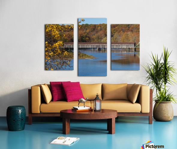 Harpersfield Ohio covered bridge in autumn Canvas print