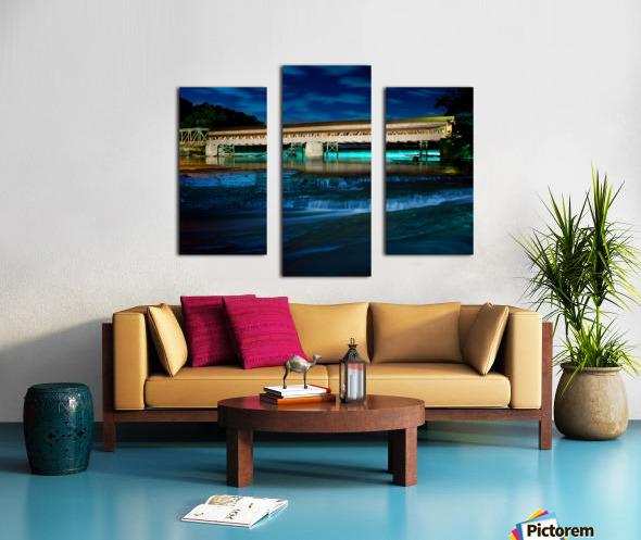 Night image of Harpersfield Covered Bridge over Grand River Ohio Canvas print