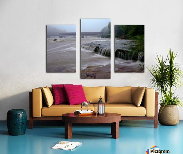 Harpersfield covered bridge and grand river rapids Canvas print