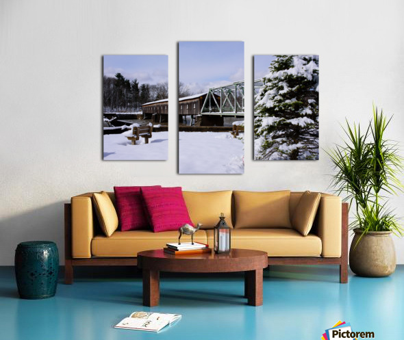 Harpersfield Ohio covered bridge winter and snow Canvas print