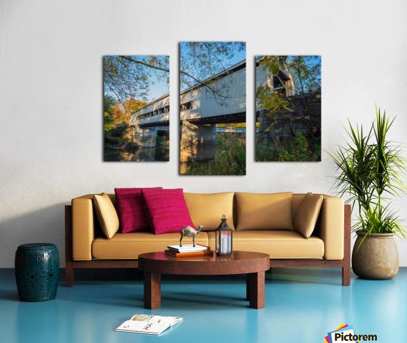 Mechanicsville covered bridge over Grand River Ohio Canvas print