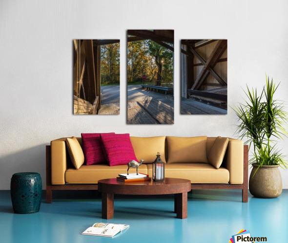Portal of Mechanicsville covered bridge Ashtabula County Ohio Canvas print