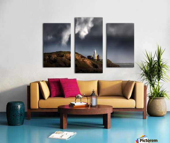 Mumbles lighthouse in the rain Canvas print