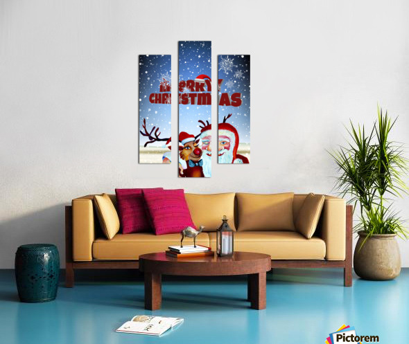 Santa Clause and Rudolph in Magical Winter night Canvas print