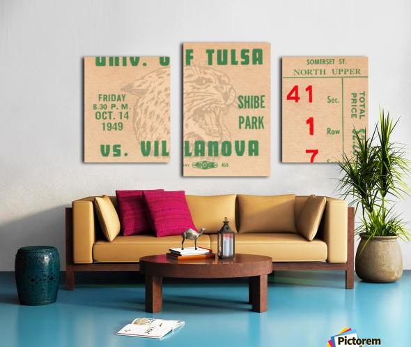 1949 Tulsa vs. Villanova Football Ticket Stub Wall Art Canvas print