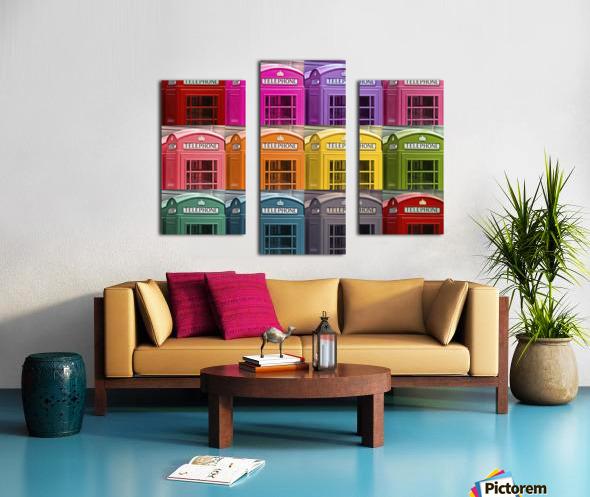 Multicoloured telephone boxes Canvas print