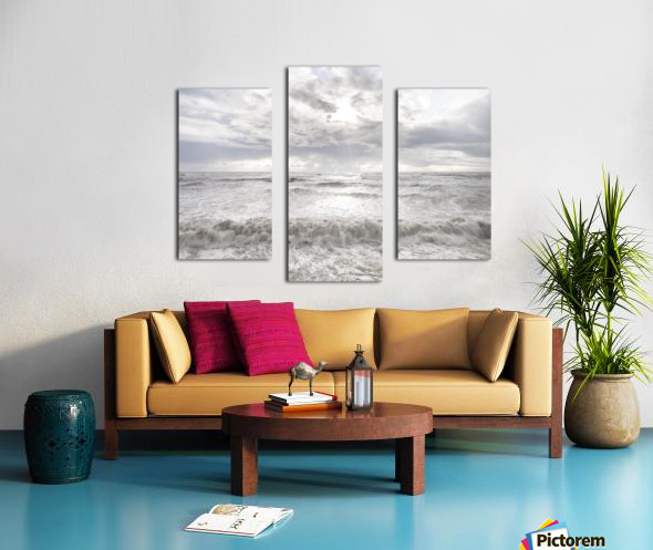 Rough and stormy sea at dusk, Charmouth, Dorset, UK Canvas print