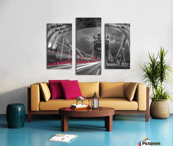 Tower bridge with strip lights, London, UK Canvas print