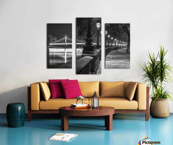 London Riverside Promenade with Albert Bridge Canvas print