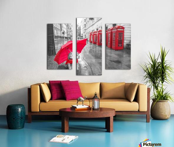 Dog with umbrella on London city street Canvas print