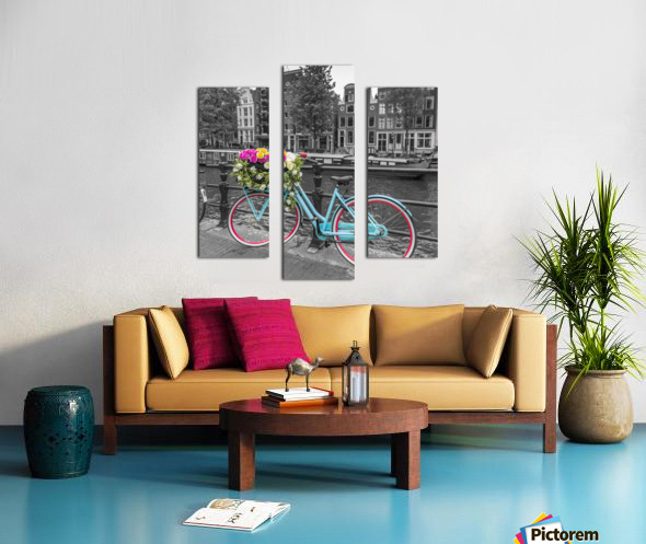 Bicycle with bunch of roses on bridge, Amsterdam Canvas print