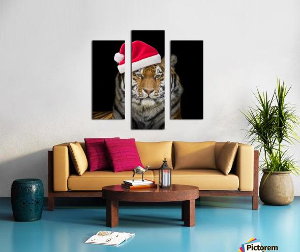 Tiger with Santa hat Canvas print