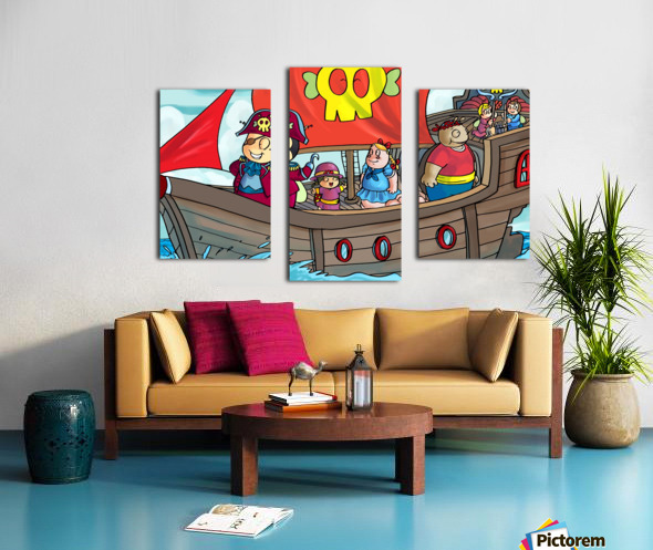 Pirate Ship on the High Seas - Bugville Critters Canvas print