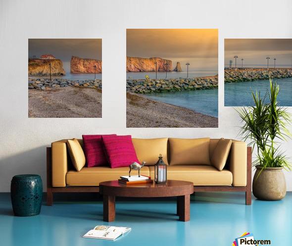 Rocher Perce et son Quai Impression sur toile