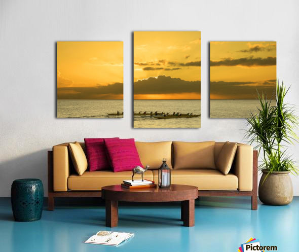 Long Canoes at Sunset Canvas print