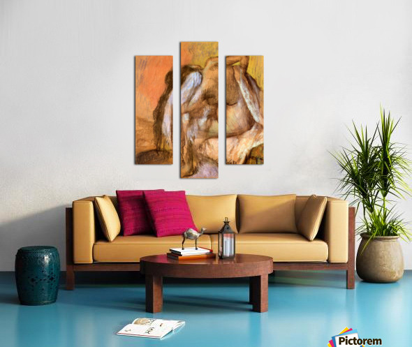 Seated female nude drying neck and back by Degas Canvas print