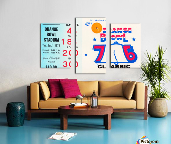 1976 Orange Bowl Ticket Stub Wall Art Canvas print